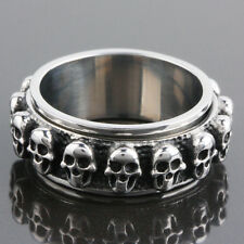 Men's Gothic Punk Stainless Steel Skull Skeleton Heavy Metal Finger Ring Jewelry
