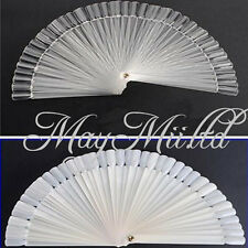 50X False Nude/Clear Nail Art Tips Board Sticks Polish Display Fan Tool Sales I