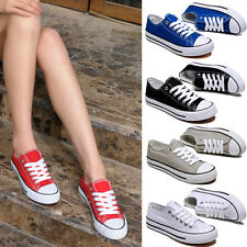 Womens Lace Up Comfort Thick Sole Flats Athletic Canvas Sneakers Sport Shoes