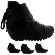 Ladies Fly London Yama Wedge Leather Lace Up Winter Ankle Boot Shoes All Sizes