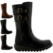 Ladies Fly London Suli Buckle Wedge Heel Leather Winter Mid Calf Boot All Sizes
