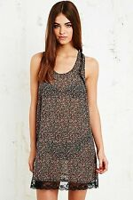 Urban Outfitters Pins and Needles Black Floral Slip Lace Dress BNWT UK M L £38