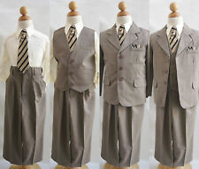 Boy light brown/ivory toddler teen youth wedding graduation party formal suit