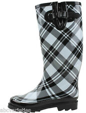 New Women's Black Plaid Rubber Rain Boots