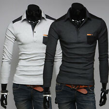 Autumn Casual Slim fit Patchwork Long-sleeved Polo shirt men's clothing