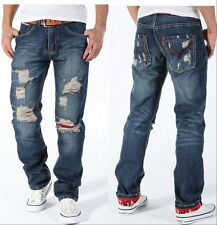2014 Mens Vintage Distressed Torn Jeans Ripped Holey Patches Slim Cut NZ04