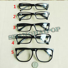 Black Clear Lens Glasses Large Slim Vintage Nerd Geek Fashion Sunglasses Frame