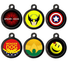Funny Superhero Pet Dog Cat Puppy Name ID Pet Tag - Pet ID Tags - Engraved FREE