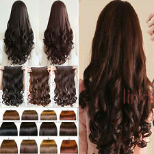 UK Seller Clip in synthetic hair extensions 1pcs 3/4 full head 5 clips as human