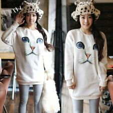 Lady Cute Cat Face Print Loose Long Jumper Sweater Knitted Pullover Sweatshirt