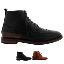 Mens H By Hudson Harland Smart Leather Laced Brogue Ankle Boots Shoes All Sizes