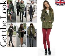 KHAKI PARKA COAT JACKET FAUX LEATHER TRIM AND ELBOW PATCHES WOMENS LADIES GIRLS