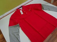 New Lacoste Men's Long Sleeve 3 Button Polo Style Shirt Red Gray On Sale