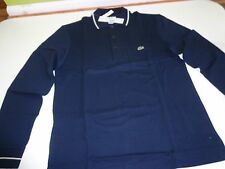 New Lacoste Men's Long Sleeve 3 Button Polo Style Shirt Marine Blue On Sale