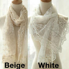 Fashion Women's White Gauze Embroidery Lace Scarf Shawl Bridal Party Gorgeous