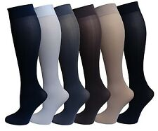 6 Pairs Pack Women Opaque Stretchy Spandex Knee High Trouser Socks 9-11