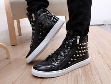 Mens Sneakers Spike Punk Studded Rivet Casual ankle boot High-Top Athletic Shoes