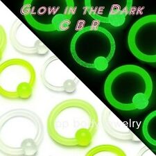 "14G, 12G, 10G, 8G~1/2"" Diameter Glow in the Dark Captive Bead Ring Earrings"