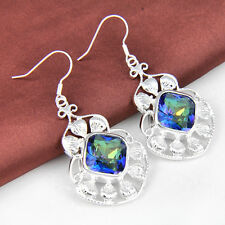 Free Shipping Elegant Rainbow Fire Mystical Topaz 925 Sterling Silver Earrings