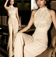 Elegant Pearl Neckline Sleeveless Lace Stitching Wide Leg Pants Jumpsuit Romper