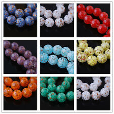 Bulks Round Czech Glass Gold Foil Dot Beads Spacer Jewelry Findings 14mm Charms