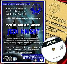 STAR WARS FAN memorabilia JEDI KNIGHT CERTIFICATE FULLY PERSONALISED + FREE GAME