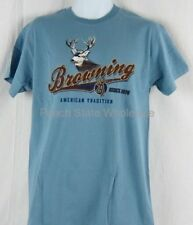 Mens NWT Browning Buckmark Blue American Tradition Mule Deer T-Shirt Any Size
