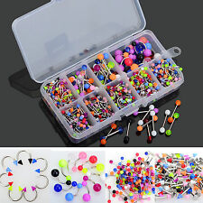 Lot 5PCS Body Jewelry Piercing Eyebrow Navel Belly Tongue Lip Bar Ring 9 Style