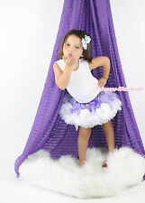 Princess Sofia Lavender White Flower Baby Girl Full Pettiskirt Dance Tutu 1-8Y