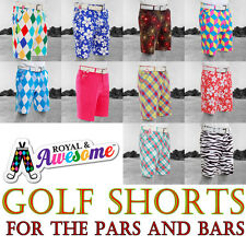 """Royal And Awesome Golf ShortsTrendy Funky Loud Waist Size 30 - 44 """" FREE Tools!"""