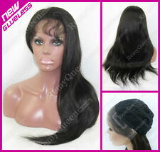 GLUELESS Lace Front Wig 0.12 Hard Lace Weft Back 100% Human Hair  Silky Straight