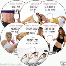 FITNESS BODY WORKOUT 7 DVD:EXERCISES BUNS,THIGHS,ABS,YOGA,KICKBOXING, WEIGHTLOSS