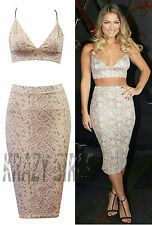 New Ladies Womens Celebrity Floral Style Bralet Bodycon Skirt Suit Size 8-14
