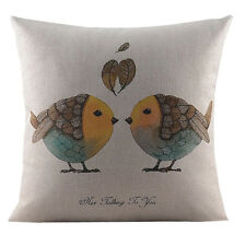 "18"" Room Decor Cushion Cover Cotton/Linen Back Seat Sofa Pillow Case Love Bird"