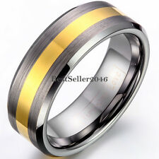 8mm Gray Brushed Tungsten Carbide Ring Gold Tone Center Engagement Wedding Band