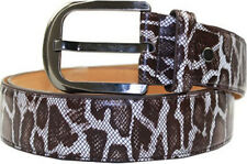 "Mens Casual Brown Leopard Leather 1.5"" inch Wide Dress Belt w/Buckle S/M/L/XL"