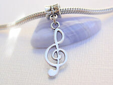 Silver Treble G Clef Note Music Dangle Charm Slider Euro Bead fit Charm Bracelet