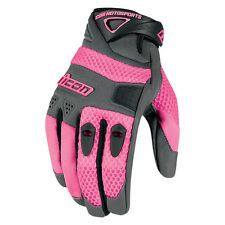 Icon Anthem Textile Womens Motorcycle Riding Gloves Pink All Sizes