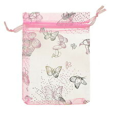 Wholesalelots 9x12cm Pink Butterfly Organza Gift Pouch Bags Wedding Xmas Favor