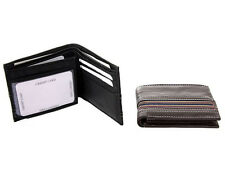 Men's Cow Leather Bifold Double Bill Wallet 6 Credit Card 2 ID Holder Holder