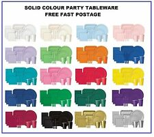 SOLID COLOUR TABLEWARE - NAPKINS - PLATES - CUPS - PLASTIC CUTLERY - TABLECOVERS