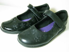 Clarks Girls Breena Toes Inf Black Leather Or Patent Velcro School Shoes