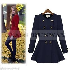 Womens Double Breasted Peplum Peacoat A Line Trench Coat Fall Winter Jacket NEW'