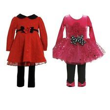 New Bonnie Jean Baby Girl Holiday Dress Tunic & Leggings Set Outfit SZ 12 24 MO