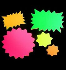 Neon Cards Fluorescent Stars Flash Price Display Tags Labels Shop Pricing