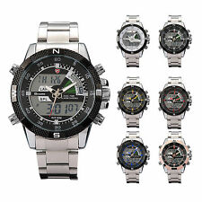 U.S.A SHARK Stainless Steel LCD Digital Chronograph Army Quartz Mens Sport Watch