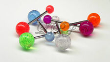 Tongue ring Colorful Clear Glitter surgical Steel Barbell Bar Body Piercing 14g