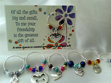 Friendship wine charm Gift - male, female, birthday gift, special friend, card