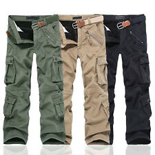 Mens Fashion Winter Warm Utility Casual Cargo Long Work Pants Cotton Trousers
