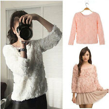 New Women Wild Sweet Lace 3D Rose Flower Shirt Pullover Blouse Sweaters